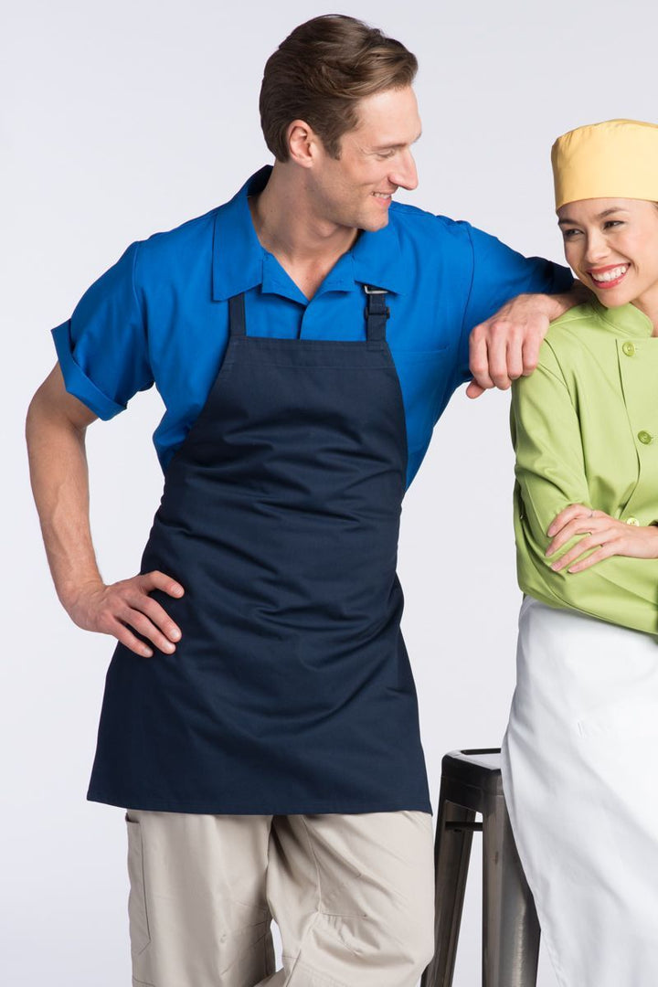 Navy Bib Adjustable Apron (No Pockets)