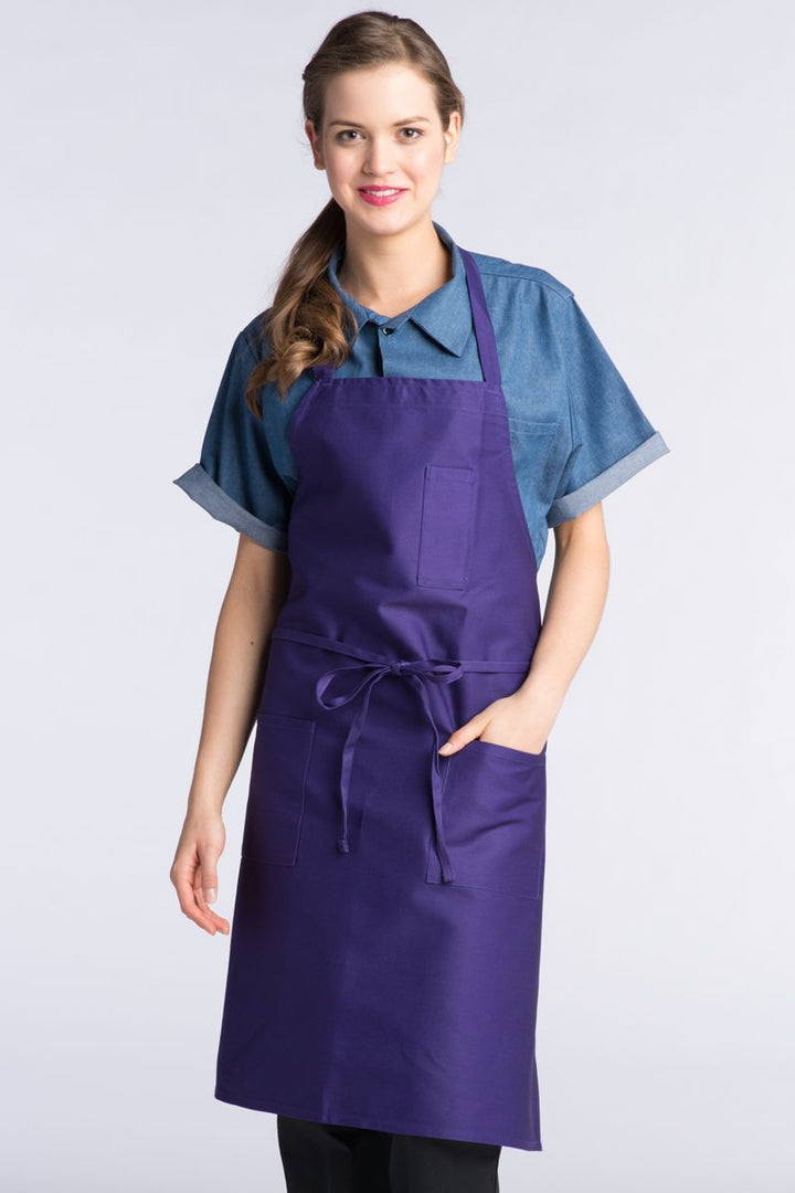 Purple Bib Apron (3 Patch Pockets)