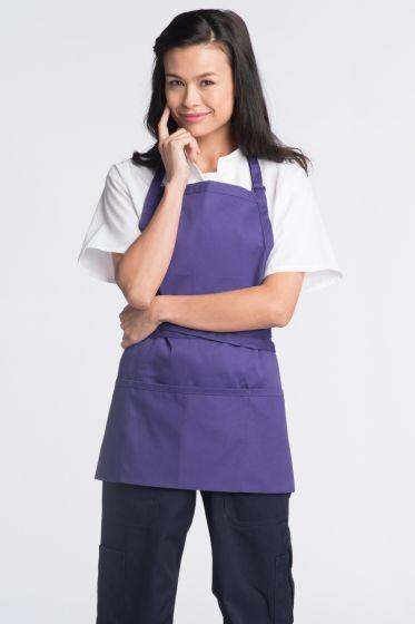 Purple Adjustable Bib Apron (3 Pockets)