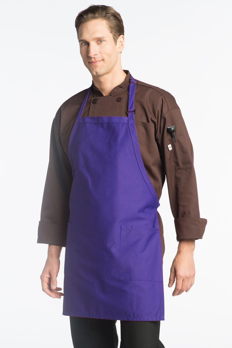 Purple Bib Adjustable Apron (2 Patch Pockets)