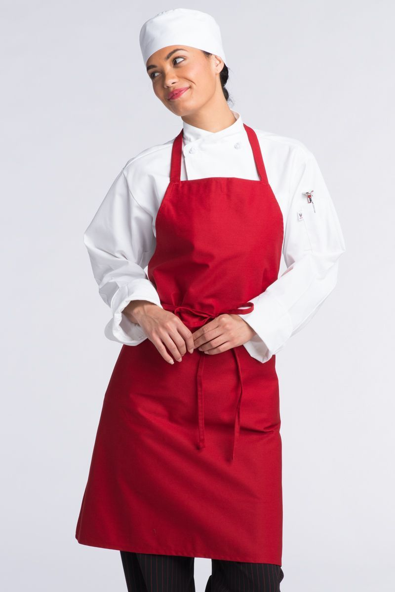 Red Bib Apron (No Pockets)