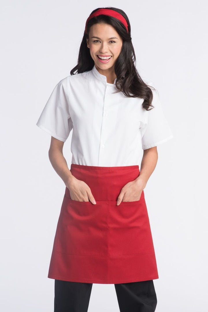 Red Half Bistro Apron (2 Pockets)