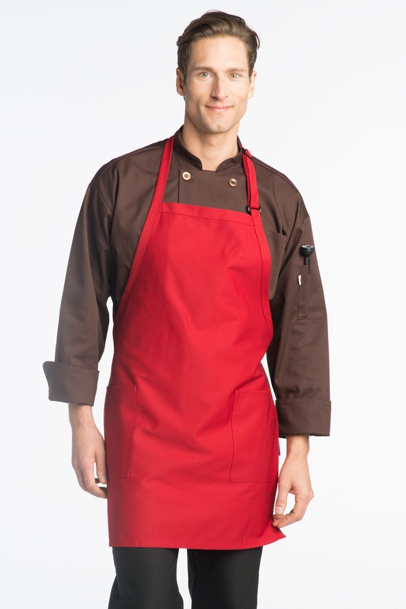 Red Bib Adjustable Apron (2 Patch Pockets)