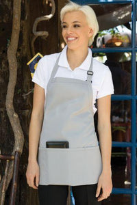 Silver Adjustable Bib Apron (3 Pockets)