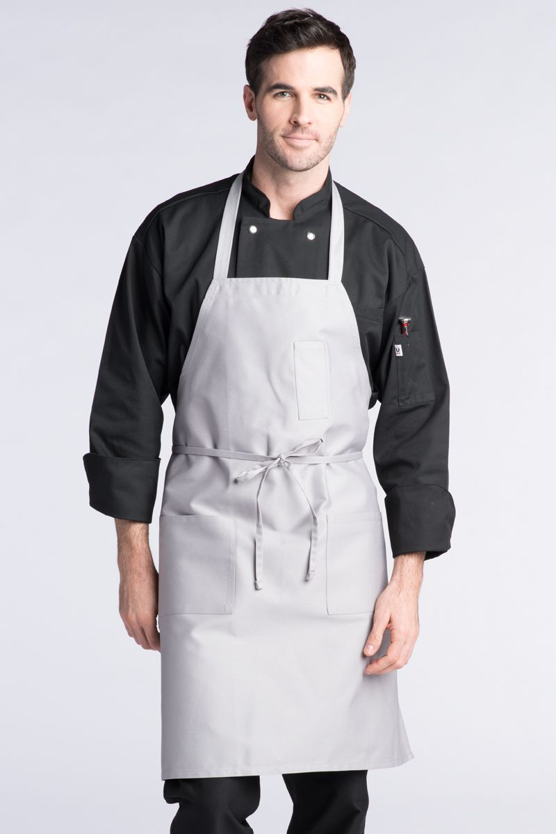 Silver Bib Apron (3 Patch Pockets)