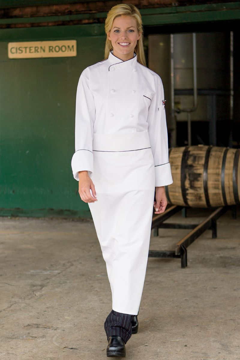 Executive White Apron with Black Contrast Piping