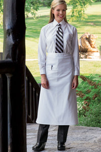 White Full Bistro Apron (1 Inset Pocket)