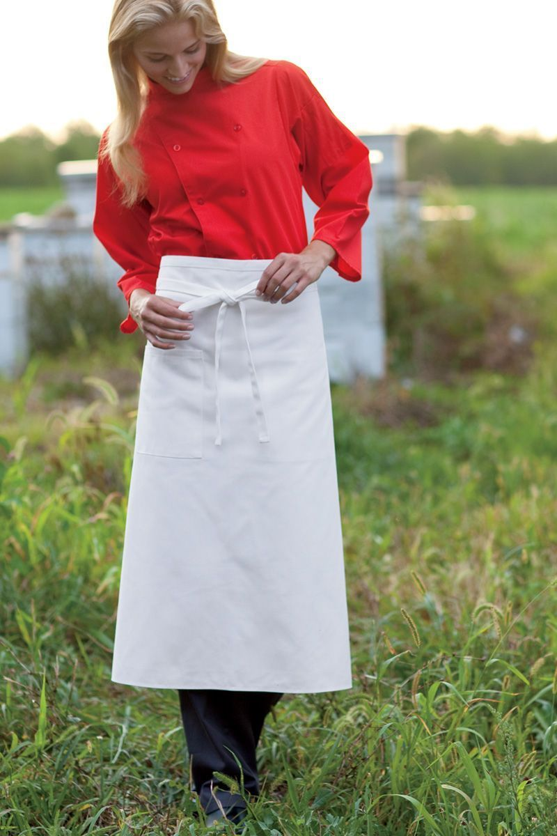 White Reversible Full Bistro Apron (1 Pocket)