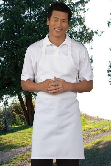 White Mid-Length Bib Apron (No Pockets)