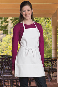 White Youth Bib Apron (2 Pockets)