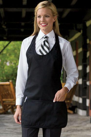 Black Scoop Neck Bib Adjustable Apron (3 Pockets)