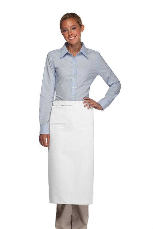 White 1 Inset Pocket Full Bistro Apron