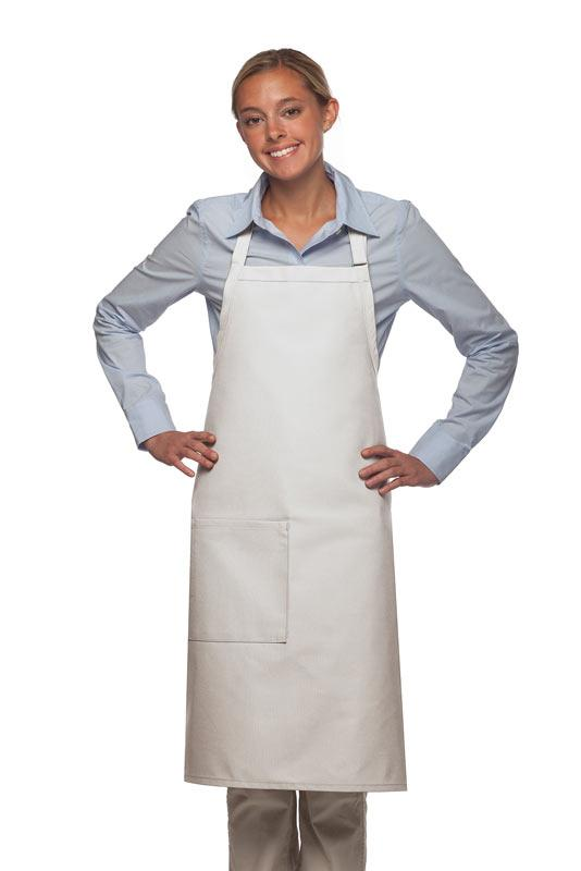White 1 Pocket Adjustable Butcher Apron