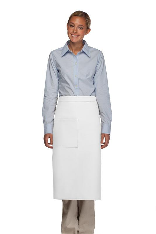 White 1 Pocket Full Bistro Apron