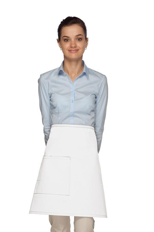 White 1 Pocket Half Bistro Apron