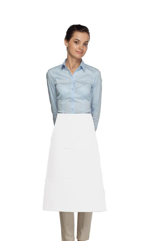 White 1 Pocket Three Quarter Bistro Apron