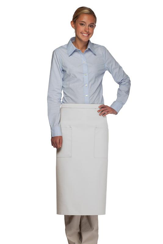 White 2 Patch Pocket Full Bistro Apron