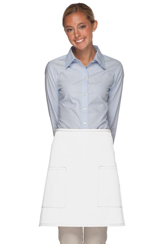 White 2 Patch Pocket Half Bistro Apron