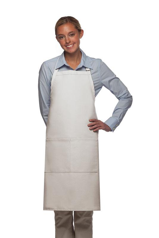 White 2 Pocket Adjustable Bib Apron