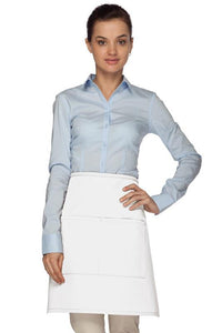White 2 Pocket Half Bistro Apron