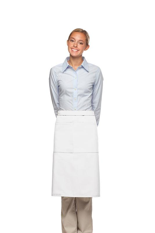 White 2 Pocket Three Quarter Bistro Apron