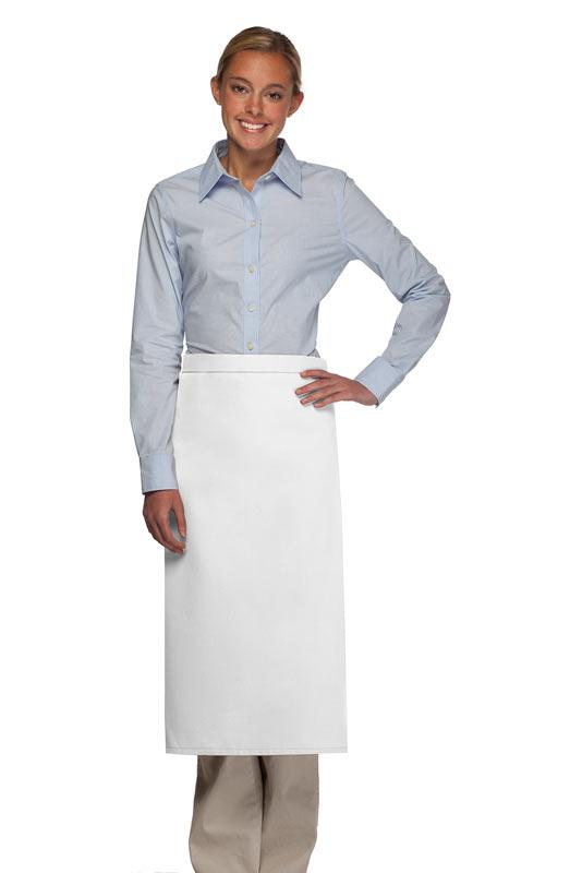 White No Pocket Full Bistro Apron