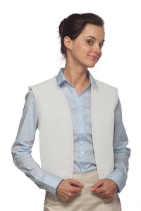 White No Buttons Unisex Vest with No Pockets