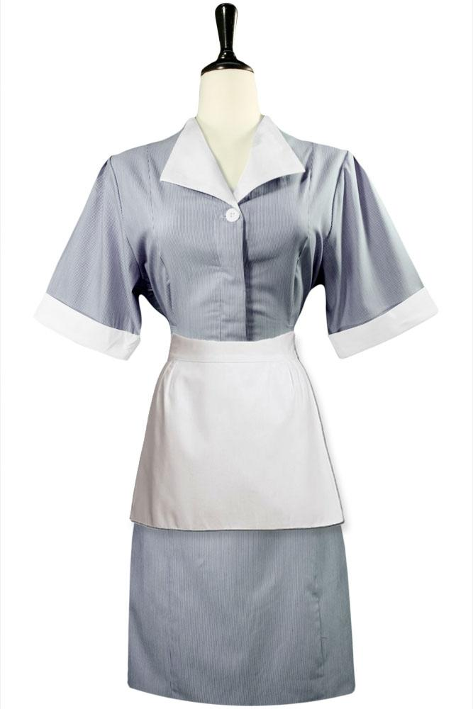 White Straight Line Housekeeping Apron