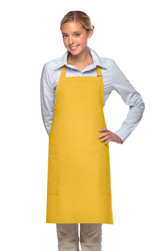 Yellow 2 Patch Pocket Adjustable Bib Apron