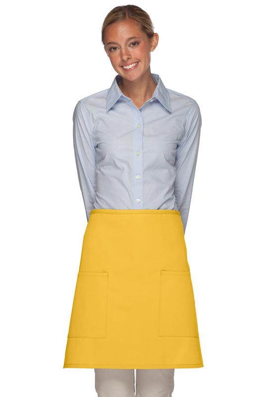 Yellow 2 Patch Pocket Half Bistro Apron