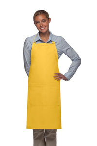 Yellow 2 Pocket Adjustable Bib Apron