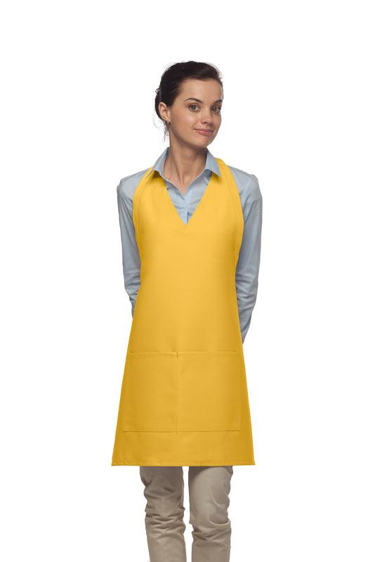 Yellow 2 Pocket V-Neck Tuxedo Bib Apron