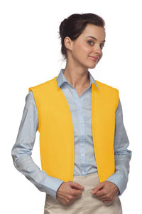 Yellow No Buttons Unisex Vest with No Pockets