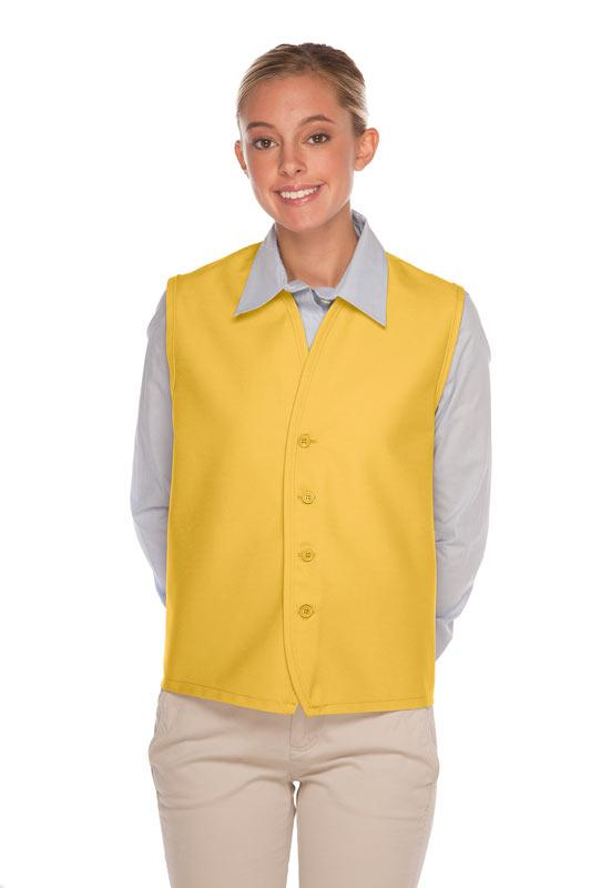 Yellow 4-Button Unisex Vest with No Pockets