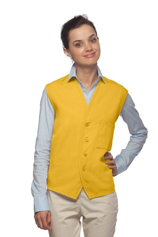 Yellow 4-Button Unisex Vest with 1 Pocket