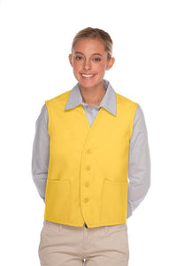 Yellow 4-Button Unisex Vest with 2 Pockets