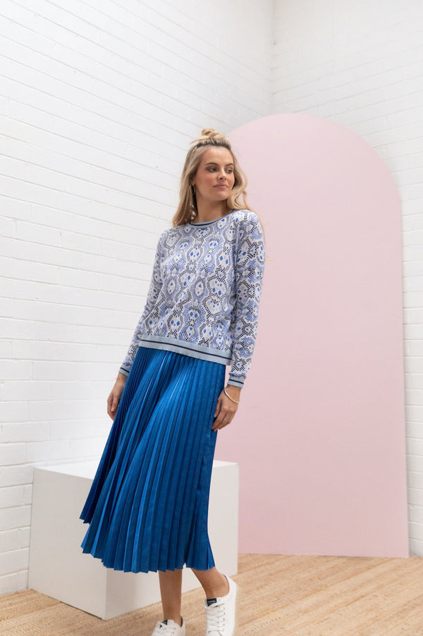 Pleated Satin Skirt - Cobalt