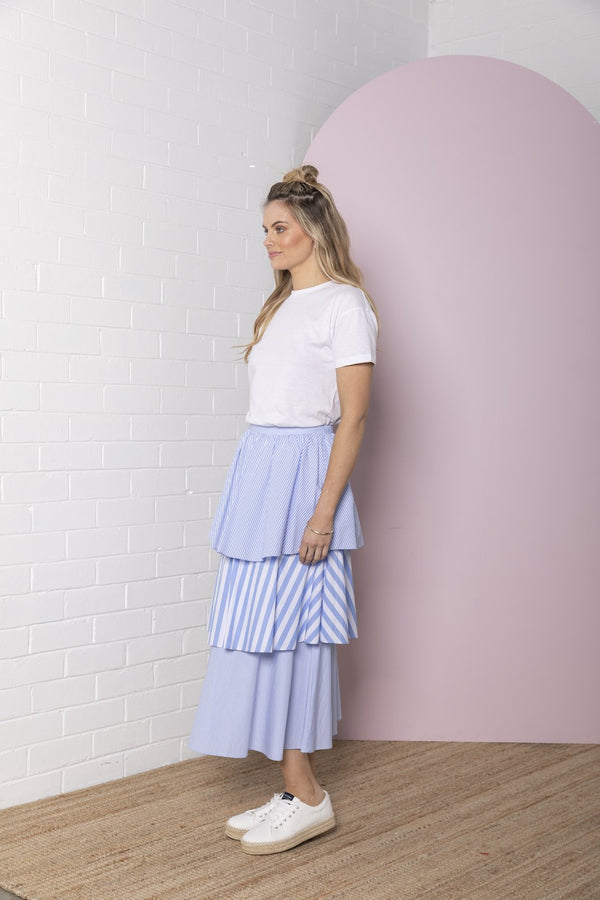 Tiered Stripe Skirt