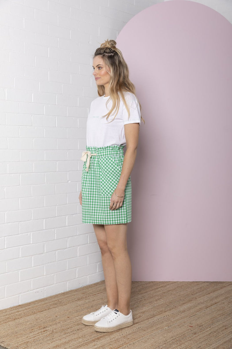 Gingham Paperbag Skirt