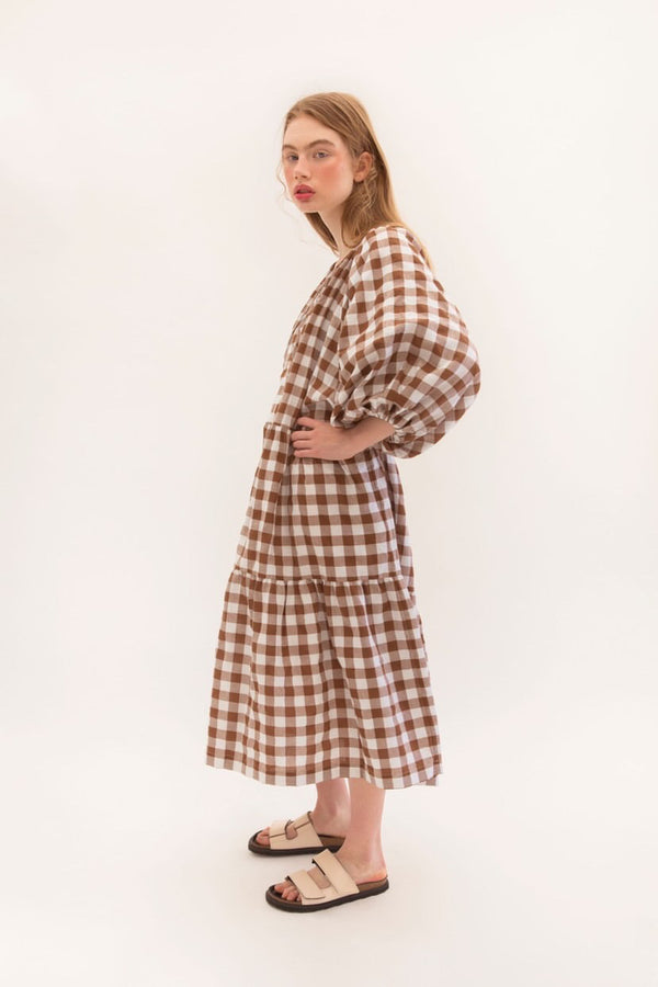 Tilly Maxi - Choc Gingham