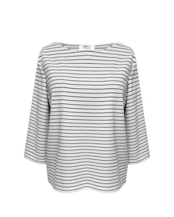Relaxed Boat Neck B/W Stripe