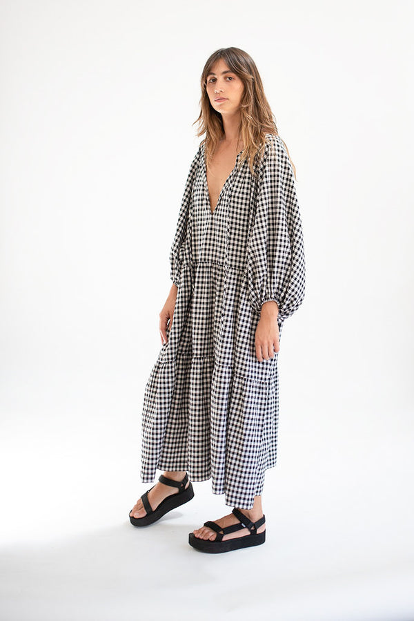 Tilly Maxi - B+W Gingham