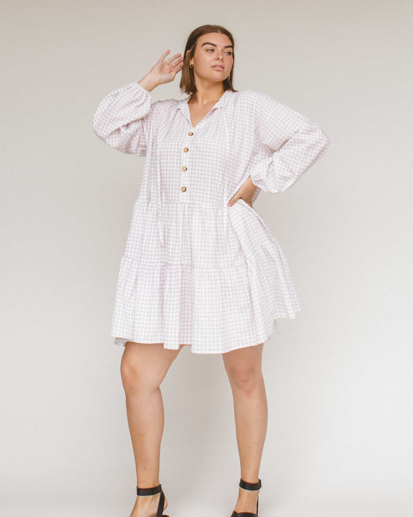 Avalon Smock Dress - Lilac Gingham