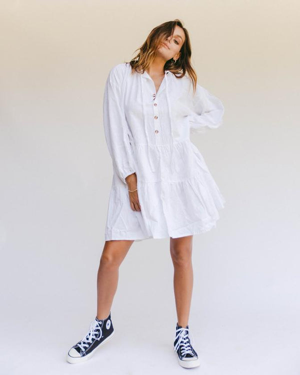Avalon Smock Dress - White - PRESALE