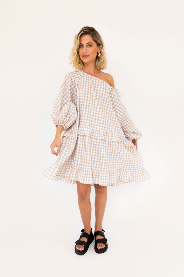 Lola Mini Dress - Beige Gingham