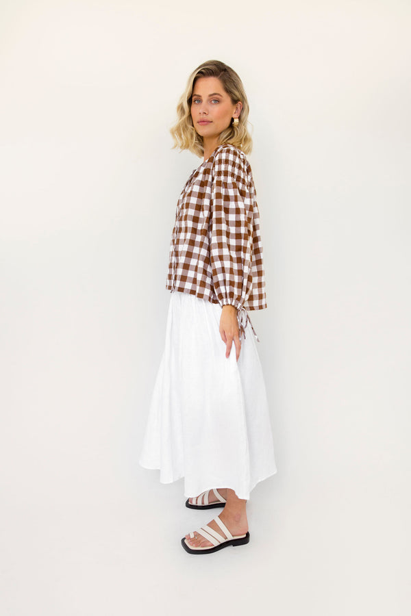 Boho Top - Choc Gingham