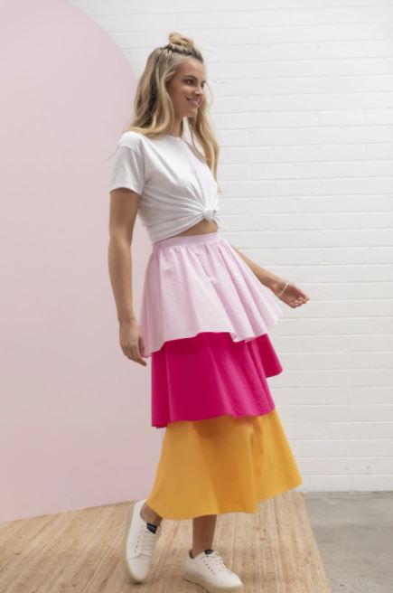 Tiered Cotton Block Skirt
