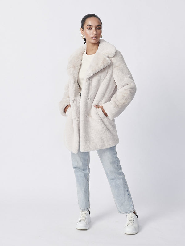 Minimalist Faux Fur Jacket - Bone