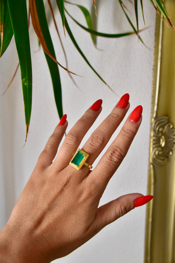 Monica Ring - Green Onyx
