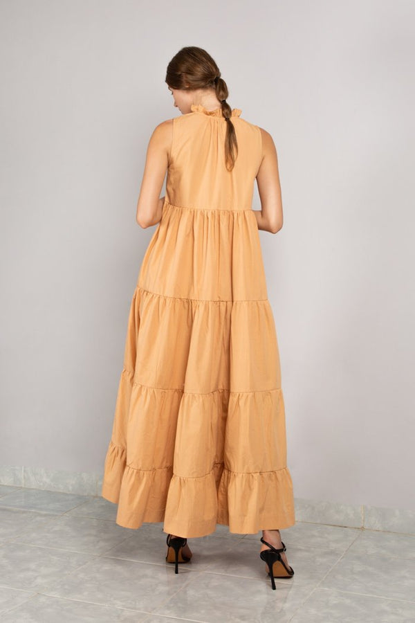 Ruffle Neck Tiered Maxi